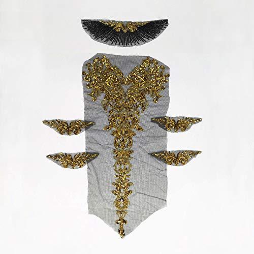 3d Lace Applique sequin Patches applique motifs sequin french diamante beaded applique trim Great for DIY Craft Sewing Costume dressmaking Bridal wedding 6 in 1 100cm*72cm A16(Black)