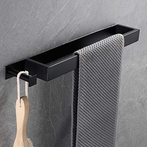 Temgin Handtuchhalter Ohne Bohren mit Haken Bad Handtuchstange Selbstklebend für Badezimmer Küche Schwarz 40CM