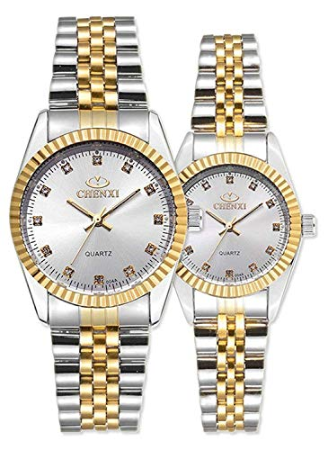 Couple Watches Swiss Brand Golden Watch Men Women Stainless Steel Waterproof Quartz Watch (Two Tone/White)