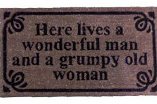 Humor - Here Lives A Wonderful Man And A Grumpy Old Woman, Retro Style Felpudo Alfombrilla (70 x 40cm)