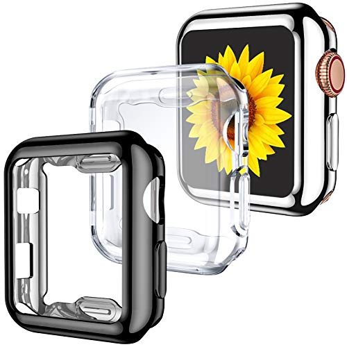 GEAK 3 Pack Compatible with Apple Watch Case 42mm,Soft HD High Sensitivity Screen Protector Case with TPU All Around Anti-Fall Bumper Protective Cover for iWatch Series 3/2/1 42mm Black/Clear/Silver