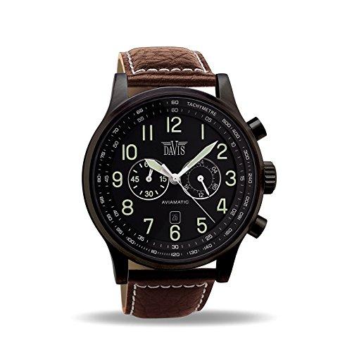Davis - heren vliegenhorloge chronograaf waterdicht 50M datum lederen armband