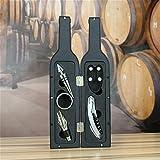Sacacorchos de vino, 5 piezas de acero inoxidable sacacorchos de vino, juego de sacacorchos de vino, caja de regalo (funda de cuero negro)