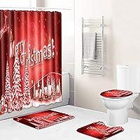ノンスリップラグ、トイレのふたカバーやバスマット、12人のフックホームデコレーション装飾が施されたメリークリスマスをテーマにした4個のメリークリスマスシャワーカーテンセット(70x70インチ) 01-19x31Ih