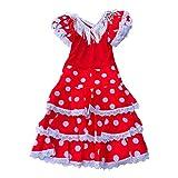 La Senorita Vestido ropa Flamenco Niño Lujo Español Traje de Flamenca chica/niños rojo blanco (Talla 6, 110-116 - 75 cm, 5/6 años)