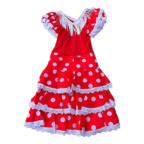 La Senorita Vestido Ropa Flamenco Niño Español Traje de Flamenca Chica/niños Rojo Blanco (Talla 4, 92-98 - 65 cm, 3/4 años)