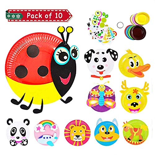 Here Fashion Pack of 10 Paper Plate Art Kit for Kids Toddler Crafts Art Toys - Transform Simple Paper Plates into Friendly Animals, Perfect for Craft Parties, Groups and The Classroom (B)