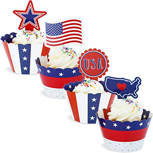 102-Piece Patriotic Cupcake Toppers and Liners - American Flag Cupcake Wrappers Baking Supplies, Patriotic Party Favors for Cake and Muffin Decorations, Red, White, Blue