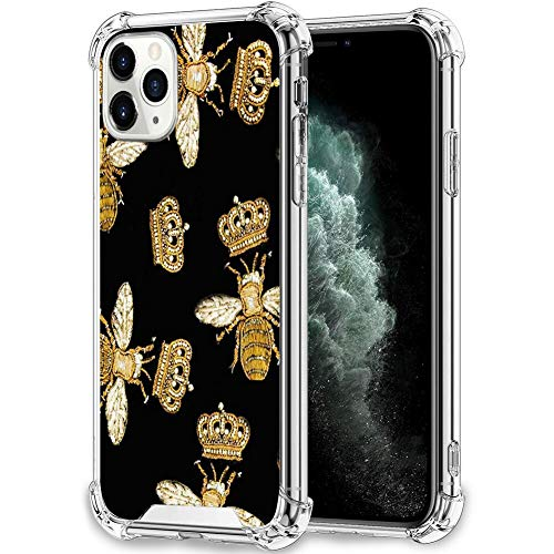 UZEUZA Clear Case Compatible with iPhone 11 Pro Max Queen Bee White Clear Case