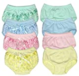 B-One Kids Baby Girls 100% Cotton Diaper Cover Bloomers 4 Pack (Size 3 (6-9 Months), Pastel)