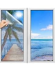 TOOELMON Spiegelfolie, zelfklevend, spiegelfolie, inkijkbescherming, uv-bescherming, infrarood warmtefolie, dakraam, zonwering, getinte folie