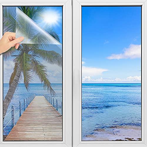 TOOELMON Lámina de espejo autoadhesiva, lámina de espejo para ventana, protección UV, protección térmica por infrarrojos, lámina tintada para claraboyas, 60 x 200 cm