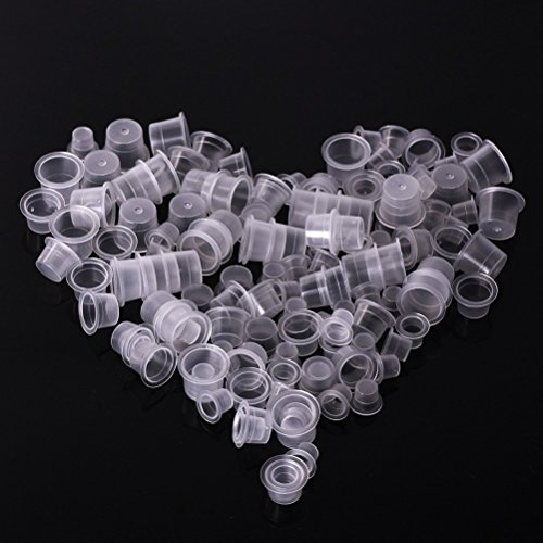 ROSENICE 1000 cápsulas de tinta de tatuaje, 13 mm, desechables, accesorios para tatuajes, pestañas, maquillaje, cejas, pigmento para tatuajes, contenedor, tamaño M