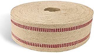 """Wholesale Upholstery Supply 72 YDS Upholstery or Craft Jute Webbing, 3.5"""" x 72 Yds - Natural with Red Stripes"""