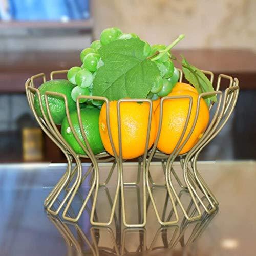 Accessoires voor thuis Creative smeedijzer fruitschaal, met grote capaciteit Fruitmand huiskamer keuken Round Storage Rack KTV Fruit Plate (kleur: zwart) (Color : Champagne Color)