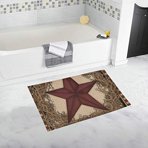Country Primitive Barn Star Wreath Live Laugh Love Custom Non-Slip Bath Mat Rug Bath Doormat Floor Rug for Bathroom 20 X 32 Inch