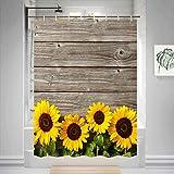 Cortina de ducha de tela con diseño de girasol, otoño, flores en madera rústica con tablones de campo, cortina de ducha de poliéster impermeable con ganchos, 47X64IN Camper Travel Trailers accesorios