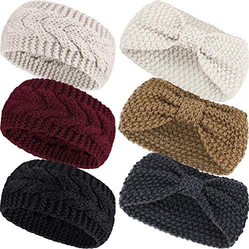 6 Pieces Winter Headbands Womens Cable Knitted Headbands Winter Chunky Ear Warmers Suitable for Daily Wear and Sport Multicolored A 21 x 11 cm