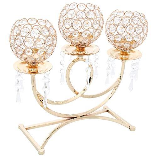 POFET Portacandele votivo in metallo a 3 bracci portacandele alto 36 cm candela candela candela candela candela candela stick Decor artigianato - oro