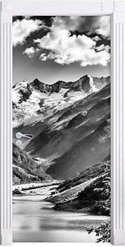 Stil.Zeit Möbel Monocrome, See an Bergen als Türtapete, Format: 200x90cm, Türbild, Türaufkleber, Tür Deko, Türsticker