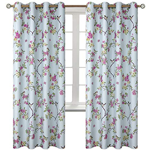"2 Panels Curtains Classical Vintage Floral Pattern Lucky Birds Vintage Floral Printed Room Darkening Window Drapes Grommets Top (42"" Wx84 L Each Panel, Blue)"