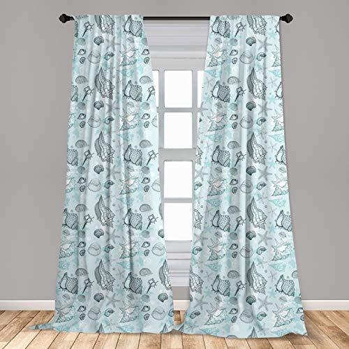 "Lunarable Pale Blue Curtains 2 Panel Set, Grunge Sea Underwater Life Shells Starfishes Sketchy Maritime Art, Lightweight Window Treatment Living Room Bedroom Decor, 56"" x 84"", Blue Teal"