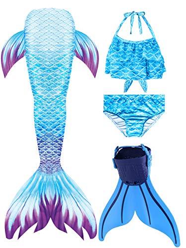 shepretty Traje de baño de Cola de Sirena para niñas,
