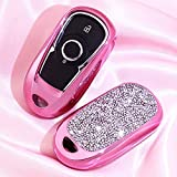 Royalfox(TM) 2 3 4 5 Buttons 3D Bling Smart keyless Entry Remote Key Fob case Cover for Buick Verano Regal Lacross Encore Envision Enclave Cascada GL8 2015 2016 2017 2018 Accessories (Pink)