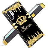 Fiyart Samsung Galaxy Note 10 Plus Case Note 10+ 5G 2019 Release Luxury Gold Queen Square Soft TPU Wrapped Edges and Hard PC Back Stylish Classic Retro Cover