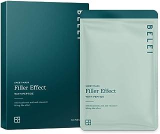Marca Amazon - Belei - Mascarilla de tejido efecto rellenador con péptido 10 Unidades