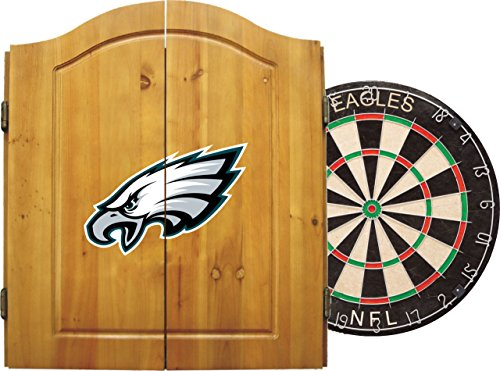 Imperial Official NFL Dart Boards for Adults with Cabinet, 6 Steel Tip Darts, Chalkboard Scorers, Philadelphia Eagles- Professional Bristle Dartboard Set - Premium Game Room Accessories and Decor