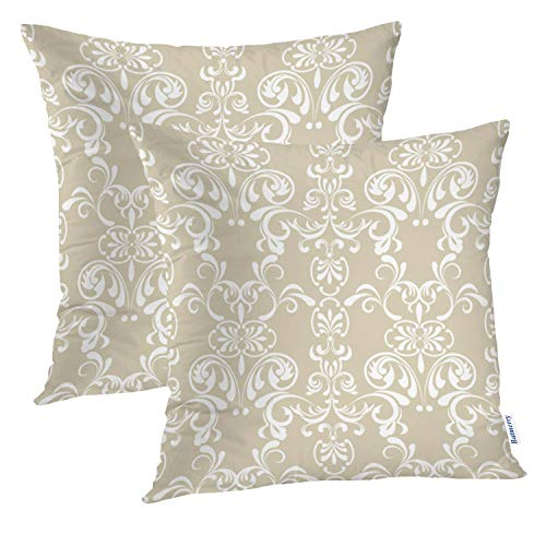 Batmerry Floral Pillow Covers 18x18 Inch Set of 2, Floral Floral Lace Paisley Vintage Victorian Swirl Scroll Beige Double Sided Decorative Pillows Cases Throw Pillows Covers