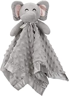 "Pro Goleem Elephant Baby Lovey Stuffed Plush Lovie/Security Blanket for Boys and Girls Minky Dot Fabric Best Thanksgiving Day Gift for Newborn/Infant (Gray, 15"")"