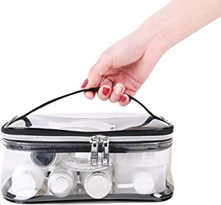Apsung Transparent Travel Toiletry Bag, Standing Waterproof Clear Pouch, Portable Shaving Washing Kits Organizer, Personal Care Trip Case