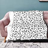 Flannel Blanket with Pompom Fringe Dalmatian Print Throw Blanket Flannel Throw Soft Bed Blanket Lightweight Microfiber 50 x 40 Inches
