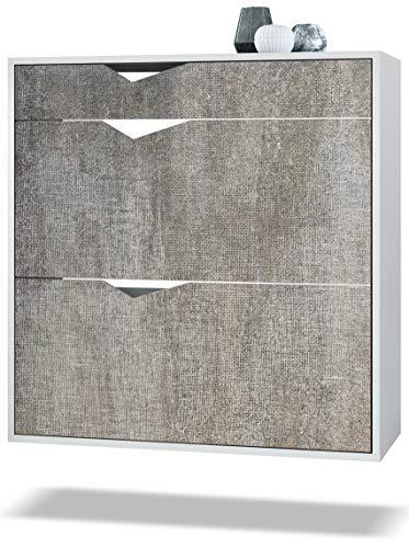 Zapatero Kolmio 85 x 87 x 33 cm, Cuerpo en Blanco Mate, frentes en Marrón Moteado   Amplia selección de Colores