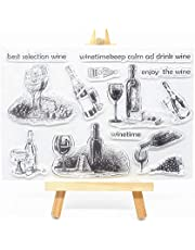 Welcome to Joyful Home 1pc Cheers Bottle Rubber Clear Stamp for Card Making Decoration and Scrapbooking