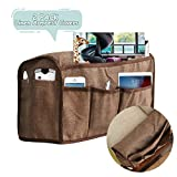 CAVEEN Armrest Cover with 6 Pockets, Linen Anti-Slip Armrest Covers for Recliner Chairs and Sofas, Armchair Slipcover Armrest Protector for Storage TV Remote, Phone, Books, Set of 2, Coffee