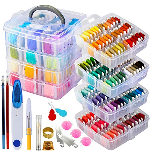 262 Pack Embroidery Thread Floss Set Including 200 Colors 8 M/Pcs Cross Stitch Sewing Thread with Floss Bins and 62 Pcs Cross Stitch Tool,4-Tier Transparent Storage Box