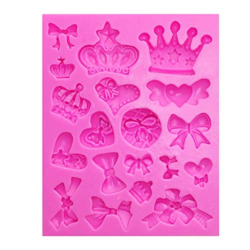 BYBYCD Cartoon Crown & Bow Tie Silicone Fondant Cake Mold Cupcake Jelly Candy Chocolate cake Decoration Baking Tool Moulds