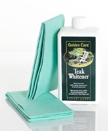 Golden Care Golden Care Teak Whitener (Whitewash) + 2 Applikatortücher Holzschutz Holzpflege für Gartenmöbel