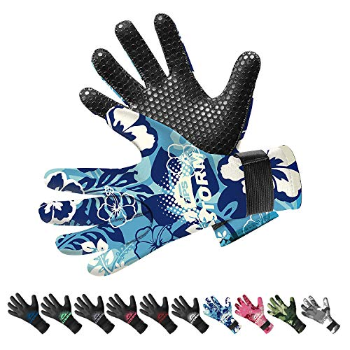 BPS Neoprene 3mm Wetsuit Gloves with Anti-Slip Rubber Printing - Watersports Gloves for Kids and Adults & Men and Women (Floral Blue/White, Small)