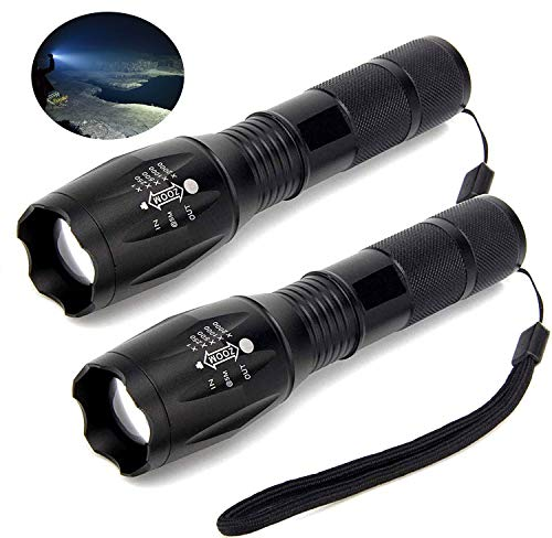 Flashlights, ZHUPIG LED Flashlight (2 PACK), Handheld Light with High Lumens, Zoomable, 5 Modes, Water Resistant, for Camping, Outdoor, Everyday Flashlights(Battery Not Included)