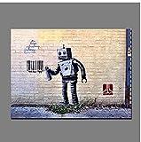 Rzhss Graffiti Abstract Street Wall Pop Art Spray Código De Barras Pintura Impresión En Lienzo Póster Imagen De Pared Para Sala De Estar Decoración 60 X90 Cm Sin Marco