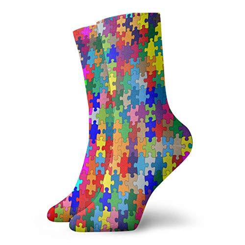 OUYouDeFangA Bunte Socken für Erwachsene, Motiv: Autismus, Puzzle, Baumwolle, niedlich, kurze Socken für Yoga, Wandern, Radfahren, Laufen, Fußball, Sport