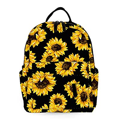ZOISOKA Unisex backpack mini backpack Student Backpack Outdoor Camping Black (Sunflower)