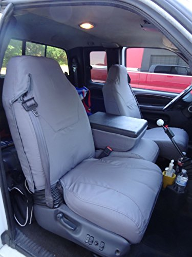 Durafit Seat Covers, made for 1998-2001 Dodge Ram Quad Cab 1500-3500, 40/20/40 Split Seat With Integrated Seatbelts, Molded Headrests and Center Console, Car Seat Covers in Gray Charcoal Endura Fabric