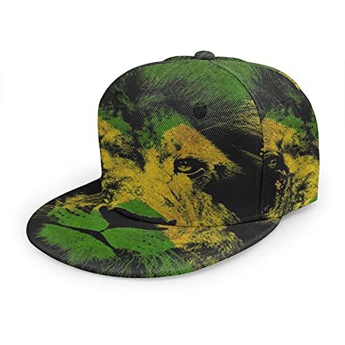 LAOLUCKY Unisex Klassische Baseballkappe Flatbrim Snapback Cap Trucker Hat Hip Hop Dad Hat Gr. One size, Jamaikanische Löwen-Flagge Kunst schwarz