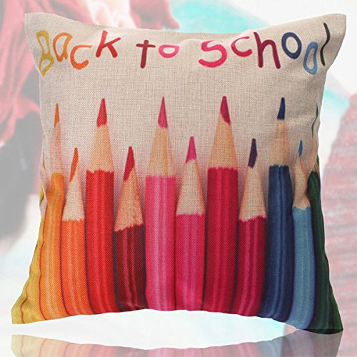 Bazaar Housse de Coussin en Coton et Lin Motif Crayons colorés
