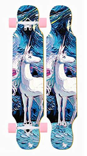 DFWYG Longboards Kinder 42 Zoll Fancy Retro Komplettboard Cruiser Anfänger Skateboards,Mädchen Jungen Erwachsene Profis 8-Lagigem Ahornholz Abec-11 Kugellager Buntem LED-Lichtrad Penny Board,Burst